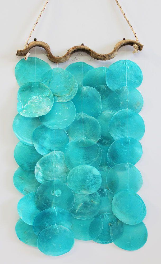 Driftwood & Turquoise Capiz Shell Wind Chime - California Seashell Company