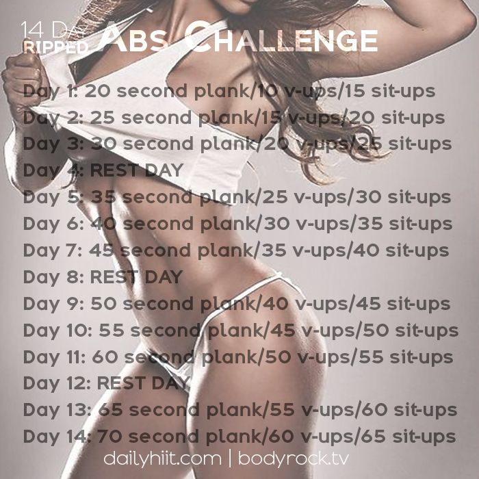 Summer is here and you've bought your new swimsuit, but are you ready to get your abs in tip top shape? Try this 14 Day Ripped Abs Challenge to help get you there! As a bonus, check out the 14 Day Bubble Butt Challenge that accompanies this as well!   14 Day Ripped Abs Challenge Day...