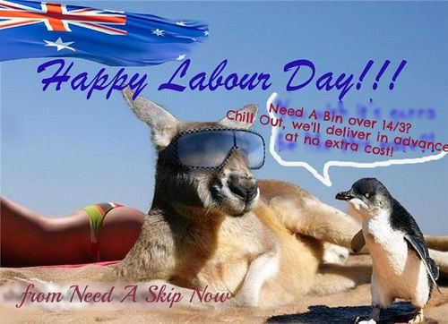 labour weekend bin hire | from Need A Skip Now www.needaskipnow.com.au no additional day hire during Long Weekend for our fellow Melbournians!  Call us on 1300 605 624 to take advantage of Labour Weekend 2016 Offer!