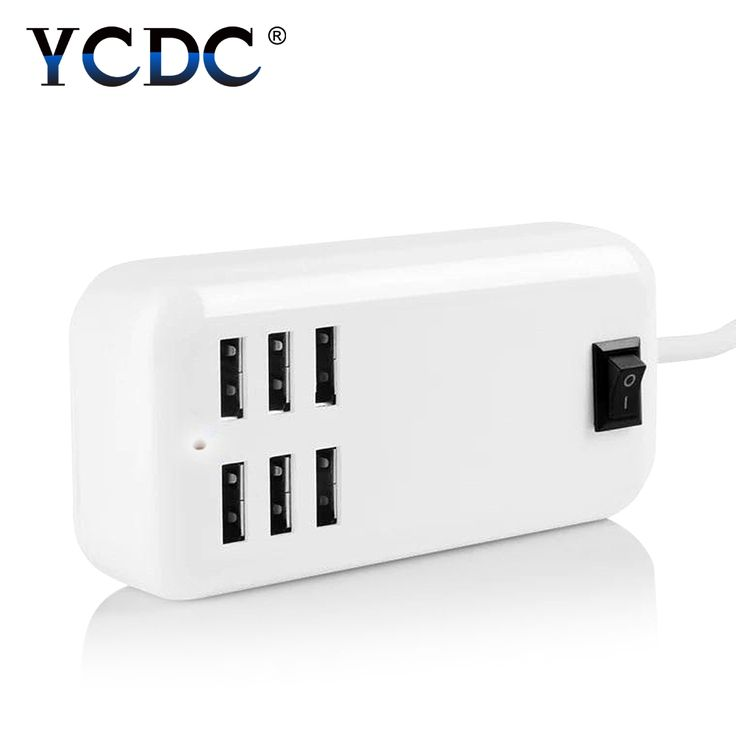 YCDC for iPhone Charger 6 Ports US EU UK Plug USB Socket Hub Home Wall AC Travel Power Adapter Power Switch USB Charger #Affiliate
