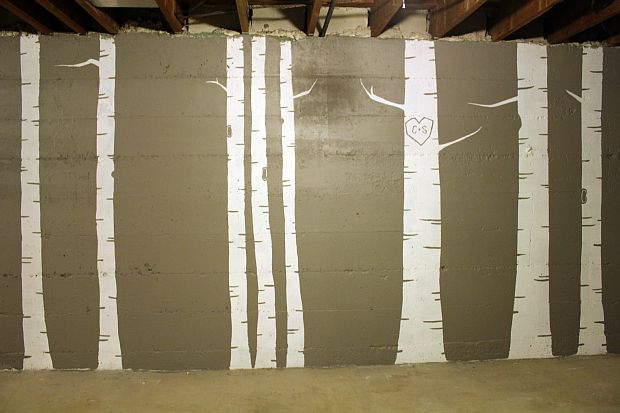 Unfinished basement wall mural for the home pinterest for Diy birch tree mural