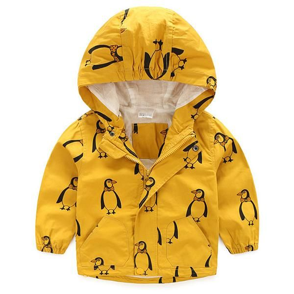Hooded all weather jacket with multiple pockets andhandsomepenguin print design.