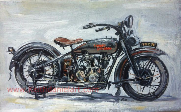 Harley Davidson 1929  JHD- Original oil painting print- Keith Daniel by KeithDanielart on Etsy