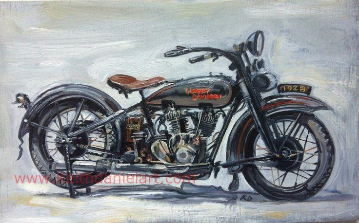 Harley Davidson 1929  JHD- Original oil painting print- Keith Daniel by KeithDanielart on Etsy