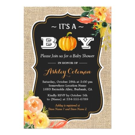 Pumpkin Fall Baby Shower It's A Boy Rustic Burlap Card - tap, personalize, buy right now!  #babyshower #invitation #babyshowerideas #babyboy #illustration #illustrations #sweet #cute #fall #autumn