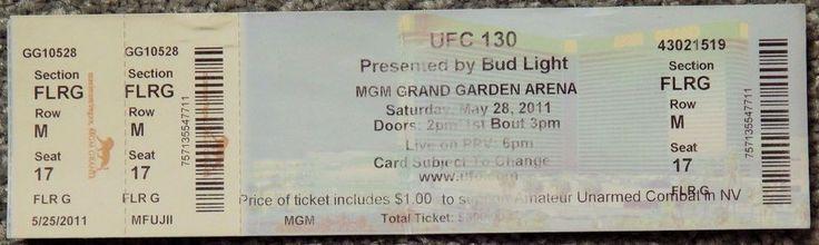UFC ULTIMATE FIGHTING UFC 130  ORIGINAL USED TICKET MGM LAS VEGAS, MAY 28 2011 #UFC130