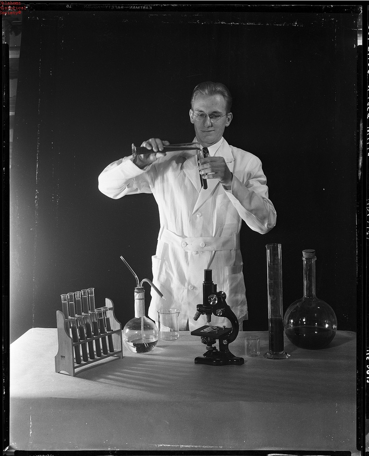 Vintage portrait of scientist experimenting in lab.Doug's inspiration ?