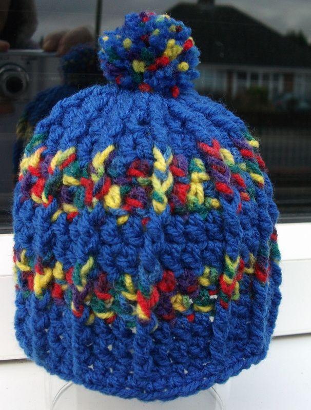 new born ribbed crochet bobble hat