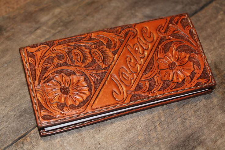 Custom Floral Carved Leather Checkbook Cover Leather