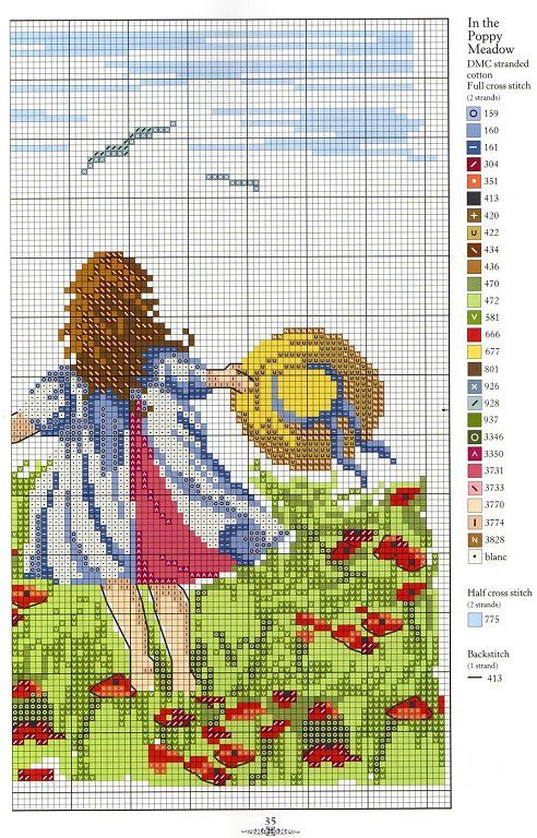 """In The Poppy Meadow"" CROSS STITCH PATTERN. With color chart listed.  Very pretty!"