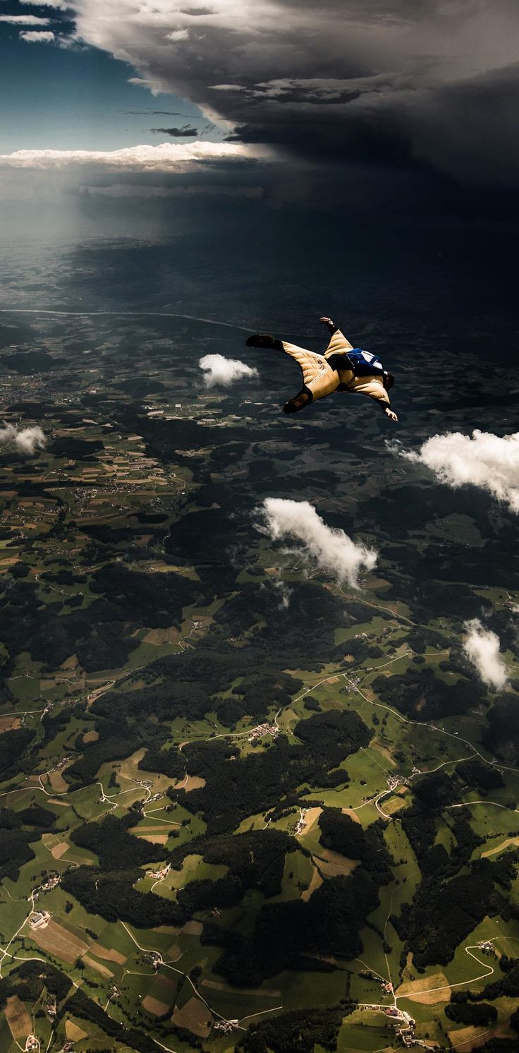 """Wingsuit flying over Freistadt (literally """"Freetown""""), a small Austrian town 