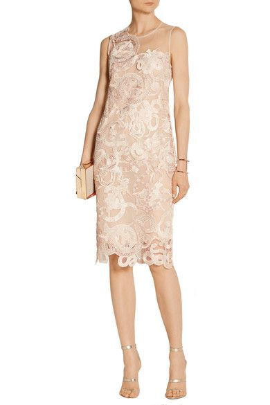 Blush lace and tulle Concealed hook and zip fastening at back 50% nylon, 50% polyester; lining: 100% silk Dry clean Designer color: Nude