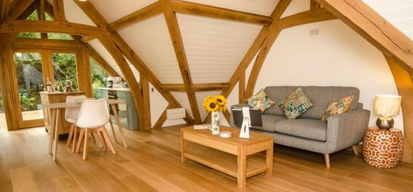 Interior of the #oak frame structure built by Arboreta.  Now utilised as a fantastic holiday home for rental.