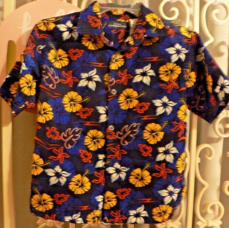 Boys Hawaiian Shirt Size 7 Kids Headquarters Blue Orange Yellow White Floral #KidsHeadquarters #DressyEveryday