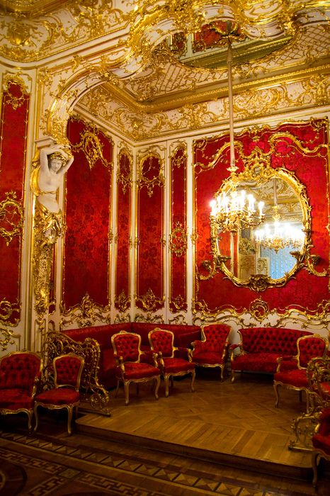 """The Boudoir. The Boudoir was part of the apartments of Empress Maria Alexandrovna, the wife of Alexander II. The elegant decor was created in 1853 by the architect Harald Bosse, a virtuoso of interior design in the """"Second Rococo"""" style."""