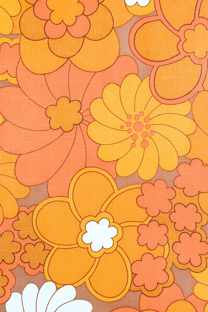 Vintage Retro Floral Vinyl Wallpaper. original vintage floral vinyl wallpaper. Great contrasting colors. Vinyl wallpaper is scrubbable and is used in bathrooms, kitchens and playrooms.