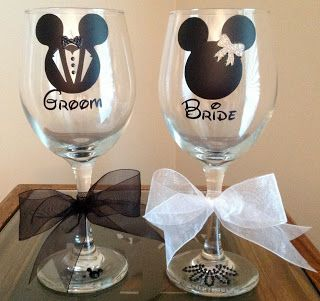 Personalized Disney Themed Bride & Groom Wedding Wine Glasses - TDY Designs