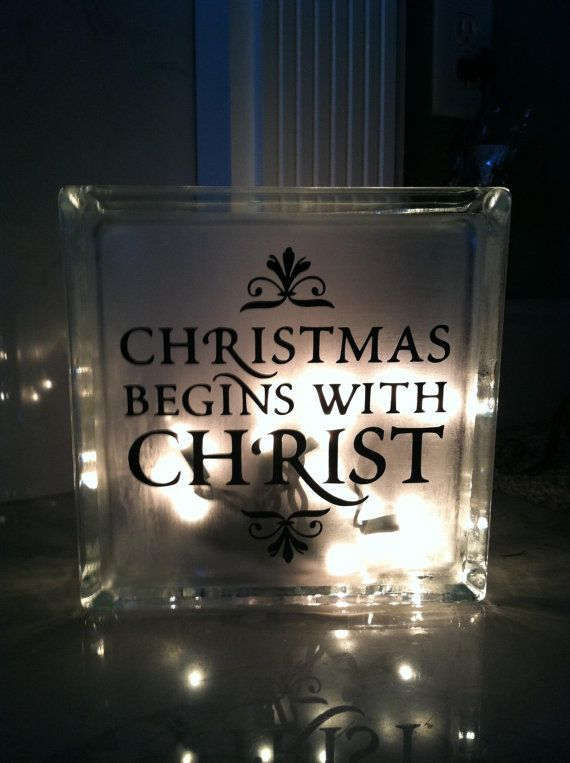 Best Glass Blocks Images On Pinterest Glass Block Crafts - Nativity vinyl decal for glass block light