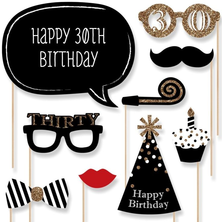 Set of 20 Real Glitter Happy 30th Birthday Photo Booth Props on A Stick DIY Kits Photobooth Fun Birthday Party Favor Gifts Black