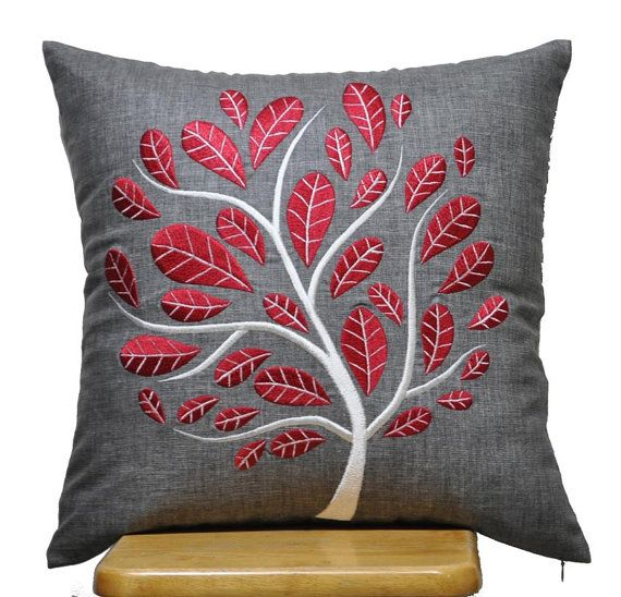 Red Peacock Pillow Cover, Decorative Throw Pillow Cover 18 x 18, Ash Grey Linen Pillow Red Tree Embroidery, Grey Pillow , Red Cushion. $24.00, via Etsy.