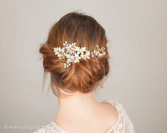 Vintage Bridal Hair Jewelery gold rhinestones 3 pa…Edit description