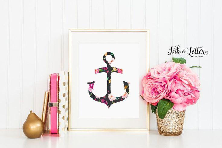Floral Anchor Print - Pink Nursery Decor - Nautical Nursery Decor - Nautical Bathroom Decor - Anchor Printable - 8x10 - Digital Printable by InkandLetterDesigns on Etsy https://www.etsy.com/au/listing/274813574/floral-anchor-print-pink-nursery-decor