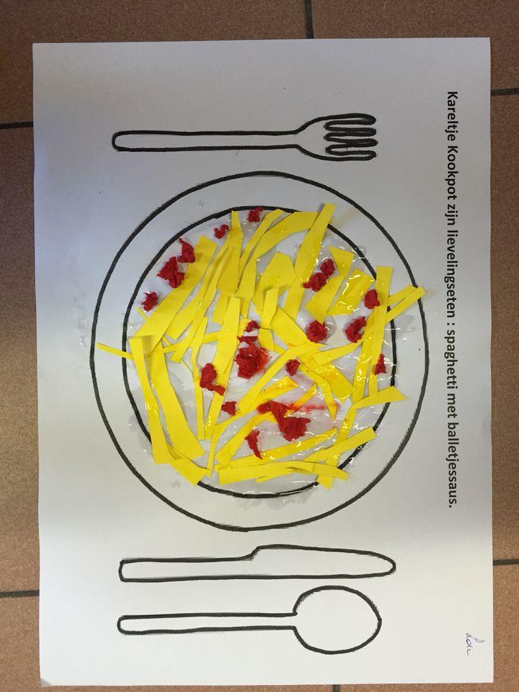 Kareltje Kookpot zijn lievelingseten : spaghetti met balletjes.