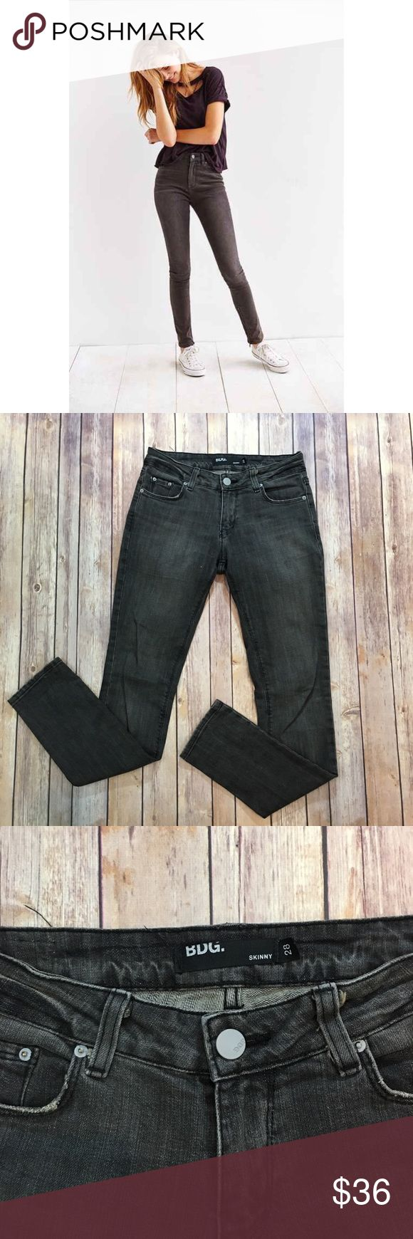 """BDG Faded Black Skinny Jeans BDG Faded Black Skinny Jeans. Front rise 9""""/back 11"""". Inseam 32"""". (B003) Urban Outfitters Jeans Skinny"""