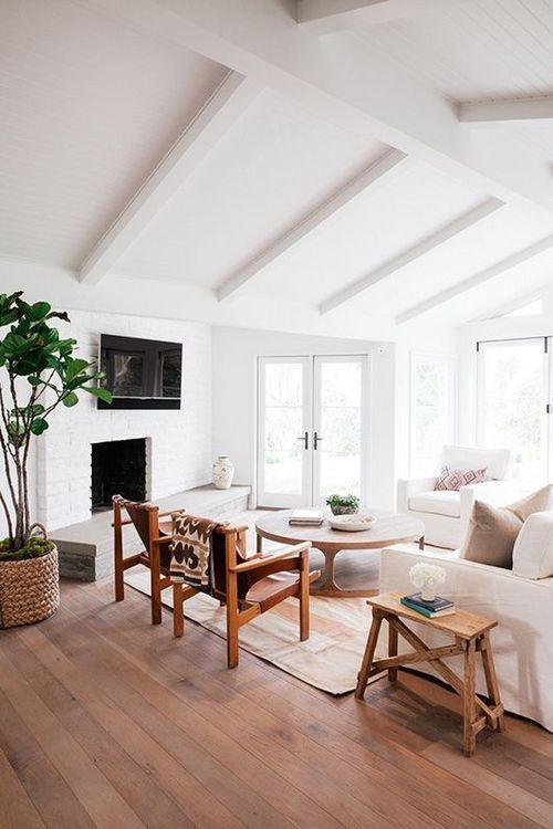 mid century modern attic living room