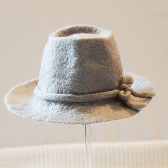 Hand felted newborn fedora hat