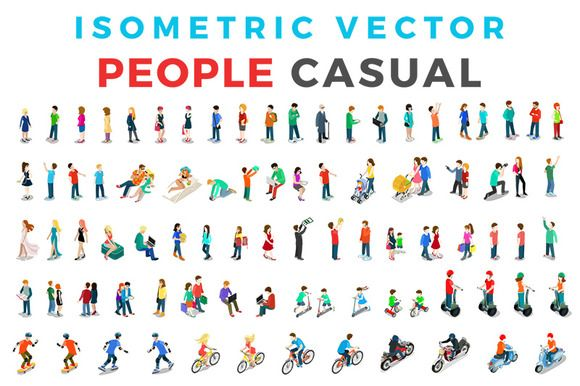 Vector Casual People Isometric Flat by Sentavio on @creativemarket