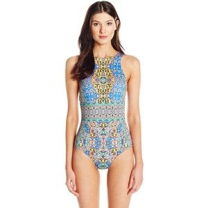 JETS by Jessika Allen Women's Decorative High Neck One Piece Swimsuit