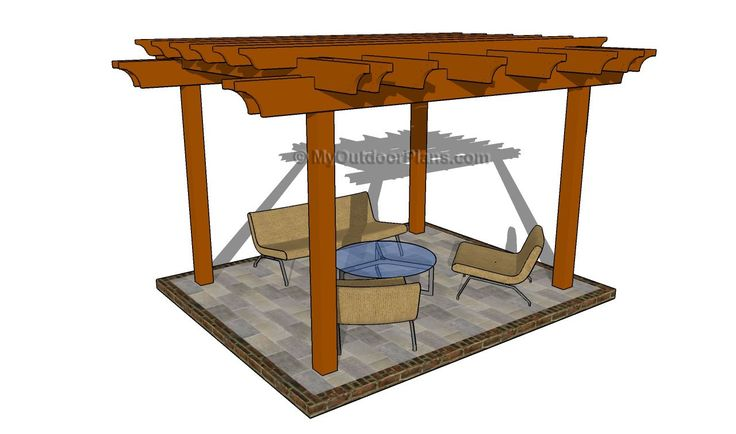 Attached Pergola Plans | MyOutdoorPlans | Free Woodworking Plans ...
