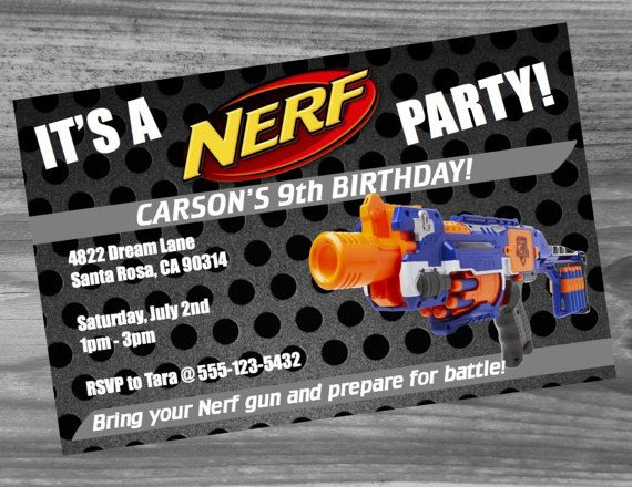 Weve taken all our best selling Nerf Birthday Party supplies and put them in one great packaged value. You will get a customized Nerf Party Invite that we will create just for you, matching thank you cards, happy birthday banner, Nerf water bottle wraps, and our awesome Nerf Bingo game! All the items are a digital download so you can print as many of each that you need at home or take the files to a professional print shop. All files are .pdf and work on any MAC or Windows computer and will…