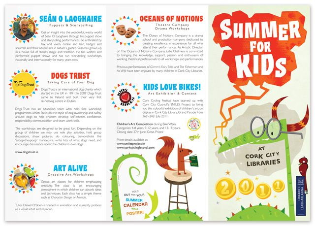 A brochure created for cork city libraries summer for for Free brochure templates for students
