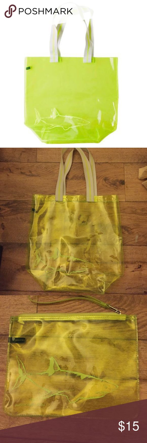 American Eagle Beach Tote Set Neon yellow tote and clutch, both with an image of a shark. Perfect for the beach or campus! Used a few times; straps are slightly dirty and there are faint marks, but they have been wiped down. Tote originally retailed for $19.95, clutch for $9.50. I will only sell these as a set. PRICE IS FIRM🚫NO TRADES American Eagle Outfitters Bags Totes