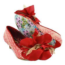New in Box NIB IRREGULAR CHOICE NANNY NUTS RED Kitten Heel Shoes USA 6 EU 37
