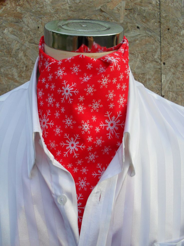 Red Christmas / Holiday Cravat with small white snowflakes.  Item No. LDC0268 by…
