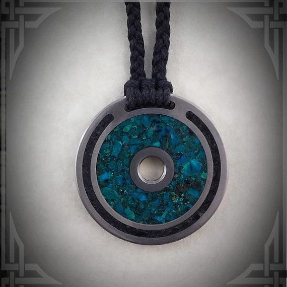 Titanium Necklace with Chrysocolla and Black Jade Stone Inlay handmade by AncientWorks1 on etsy.com