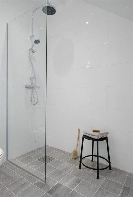open shower bathroom  Love the simplicity--wall tiles!