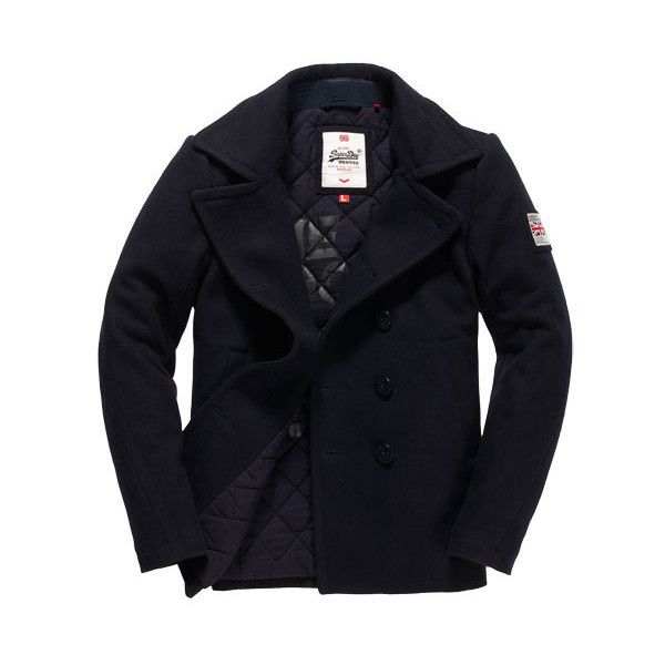 Superdry Rookie Pea Coat (€125) ❤ liked on Polyvore featuring men's fashion, men's clothing, men's outerwear, men's coats, navy, mens peacoat, mens coats, mens double breasted coat and mens pea coat jacket