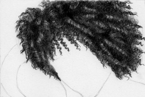 2b spirals, tortillon, 4b shadows, tortillon, 6b shadows, tortitton, fine point kneeded eraser highlights along each curl, 3b details around edges in zig-zag line, light tortillon