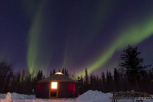 Aurora over yurts in Hay River, Northwest Territories  You can rent these during your stay at: www.2seasonsadventures.com Photo by sefdesign, via Flickr