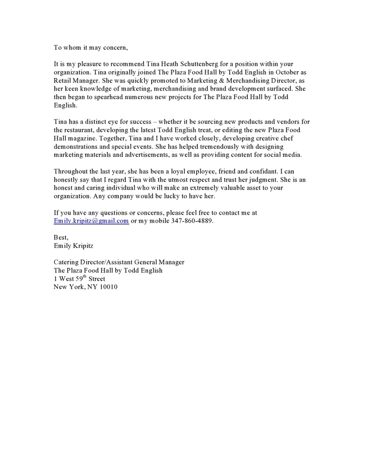 Reference Letter from Emily former Catering Director at Todd - sample reference letter for a friend