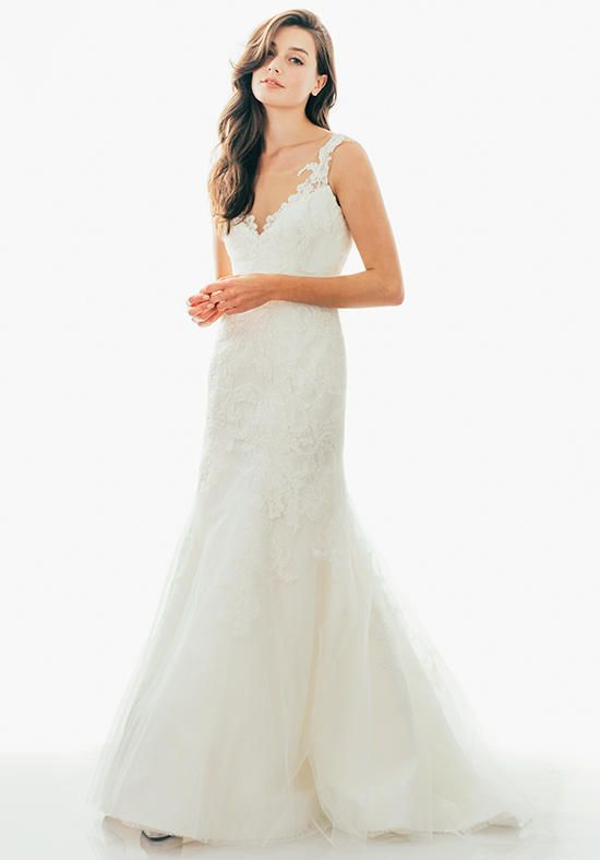 Fit and Flare Chantilly dress with Alencon and Tulle Overlay, Sheer Neckline | Judd Waddell | https://www.theknot.com/fashion/leighton-judd-waddell-wedding-dress