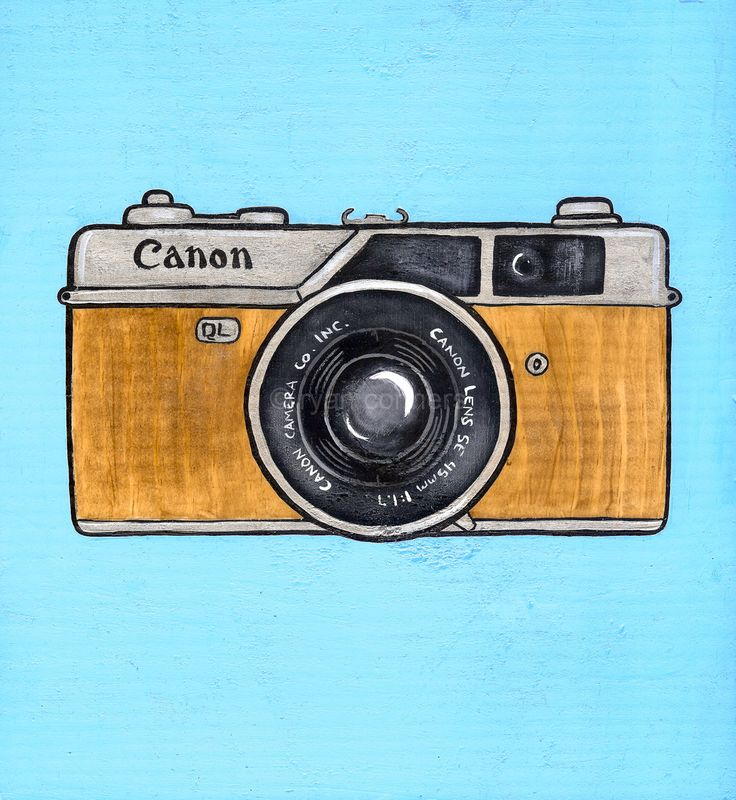 Vintage canon camera original folk art painting canon for Camere dwg