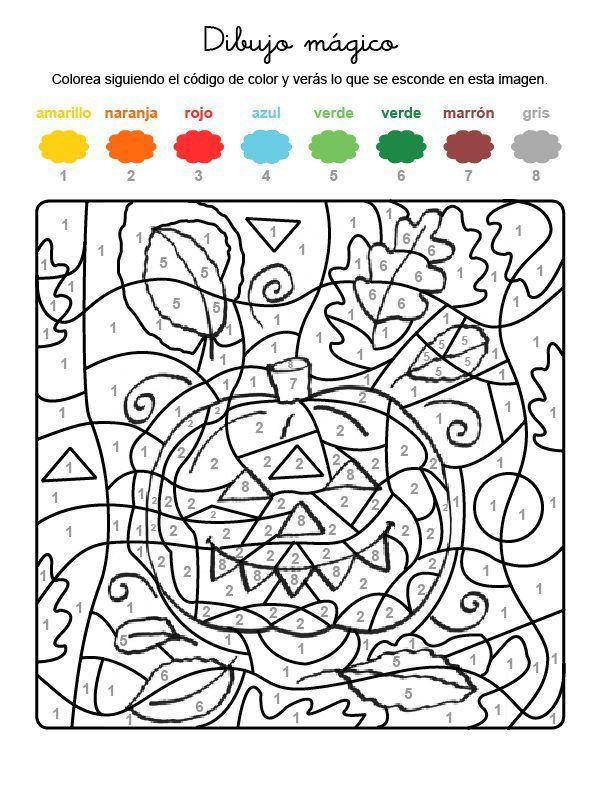 Dibujo mágico de una calabaza dibujo para colorear e