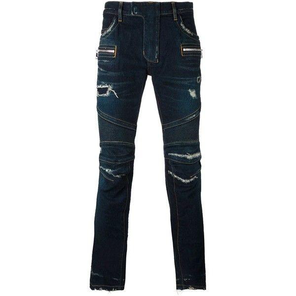 Balmain biker jeans ($1,585) ❤ liked on Polyvore featuring men's fashion, men's clothing, men's jeans, blue, mens distressed jeans, balmain men's jeans, mens destroyed jeans, mens ripped jeans and mens blue jeans