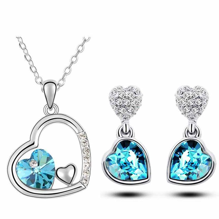 Free Shipping quality girl women accessories bridal white Gold Plated Crystal double heart Necklace Earrings fashion jewelry Set