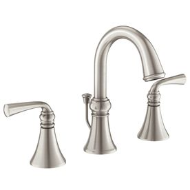 Moen Wetherly Spot Resist Brushed Nickel 2-Handle Widespread Watersense Labeled Bathroom Sink Faucet Drain Included